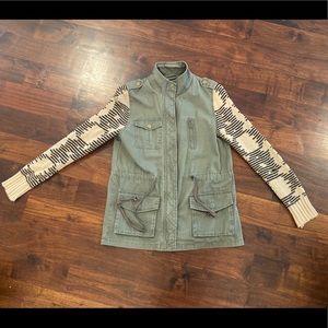Blu Pepper Army Green Sweater Jacket